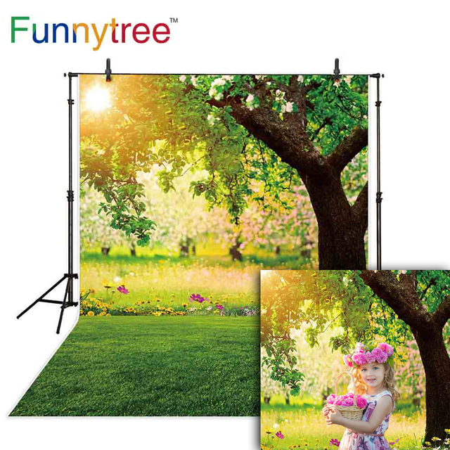 Funnytree spring background photography green tree sun nature Easter newborn studio photo shoots backdrops photocall photophone