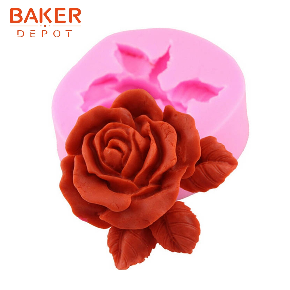 <font><b>BAKER</b></font> <font><b>DEPOT</b></font> flower fondant mold Silicone cake decoration mould rose candy chocolate mould ice cube tray DIY Craft plaster P009 image