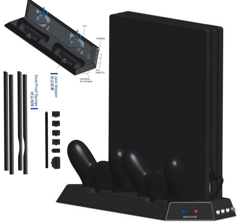 PS4 Pro Vertical Stand with 2 Cooling Fans Dual Controller Charging Station and 3 HUB Ports + Dustproof Mesh For PS4 Pro Console