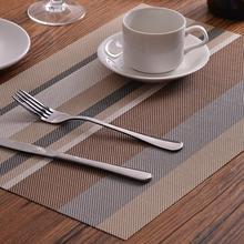 Fyjafon 2/4/6pieces Set Table Mats Europe Restaurant PVC Place Mat Striped Heat Protection Hotel Placemats Kitchen Decor