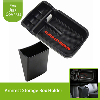 for Jeep Compass 2017 2018 2019 2020 2021 Central Armrest Storage Box Tray Holder Organizers Glove ABS Black Car Accessories 1