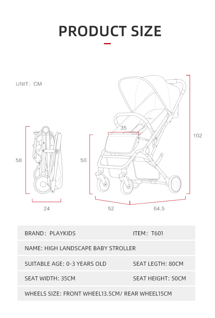 Playkids Folding Baby Stroller Car Lightweight Trolley Pram 4 Season 1 Second Flod Stroller Portable Get on THe Plane and Car