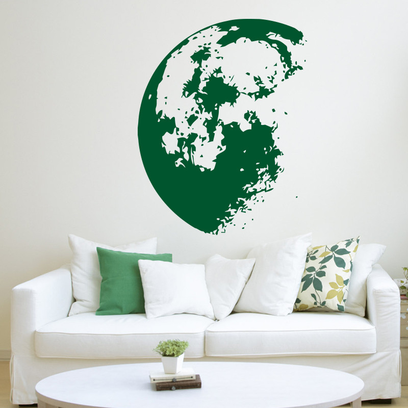 New design Outer Space Moon Wall sticker home decor Modern vinyl wall decals removable house decoration art mural free shipping-in Wall Stickers from ...