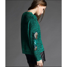 2015 Autumn New Fashion women's clothing DaLang turtleneck sweater loose sequins round neck long sleeve sweater coat