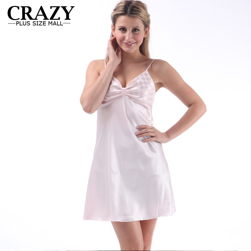 Top Sale   Nightgowns     Sleepshirts   2018 Plus Size home Bathrobe For Lady Women Sexy V-neck Bow Sleepwear Dress Gown Intimissimi
