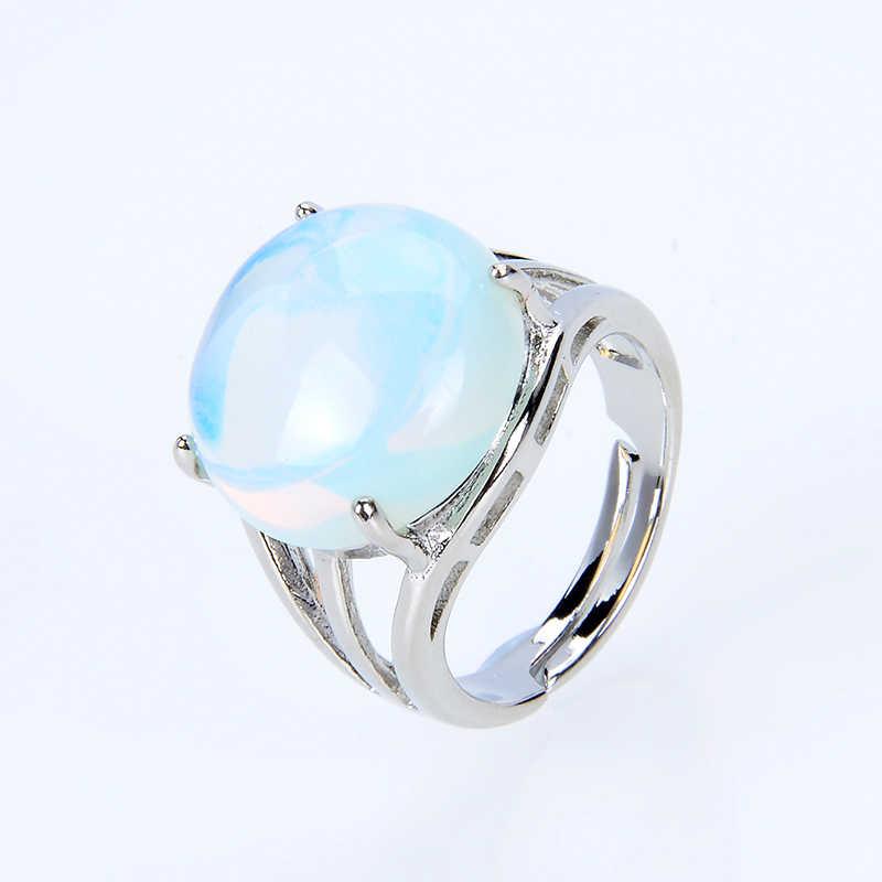Anillo completo hueco Piedra Natural anillos de dedo amatistas lapislázuli ópalo Rosa piedra de cuarzo fiesta mediados anillos de boda joyería de mujer