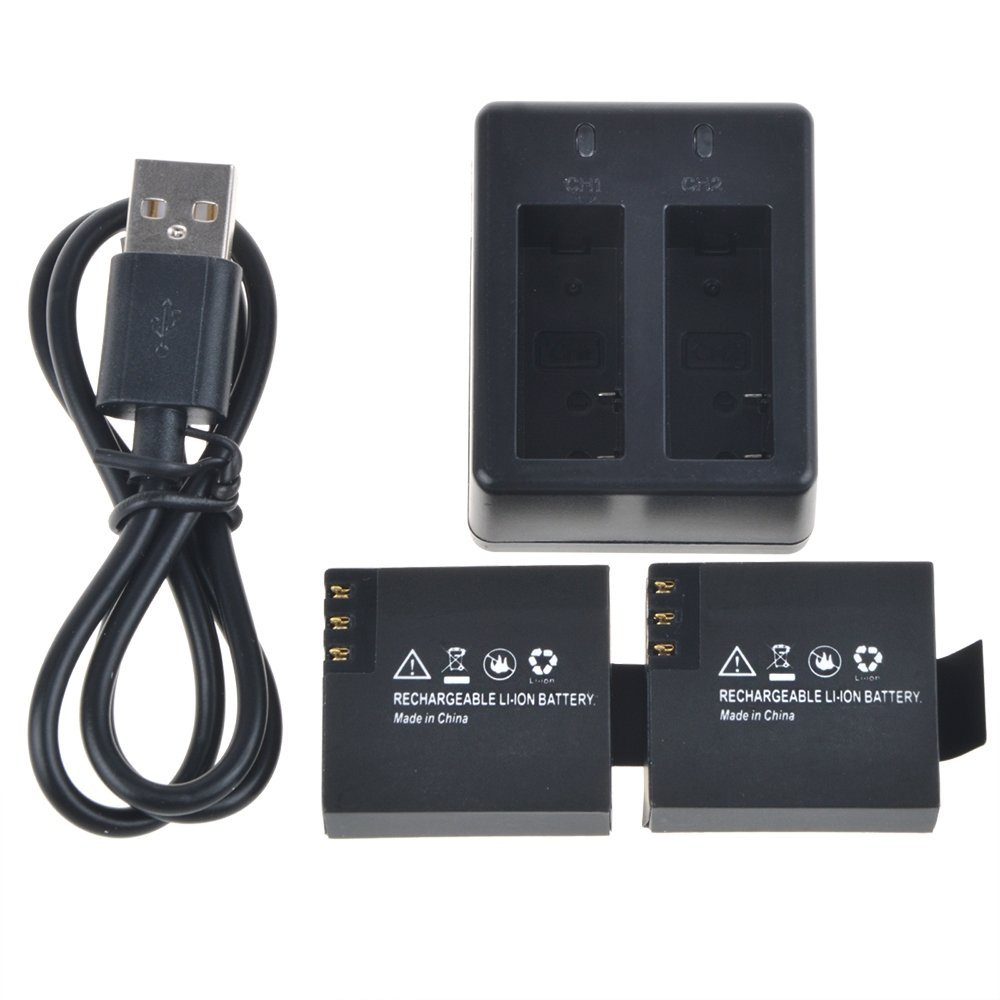 3.7V 900mAh Action Camera Li-ion Battery Pack Kit Dual Charger Cable For SJCAM SJ4000(WiFi) SJ5000 SJ5000+ SJ6000 SJ7000