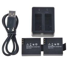 3.7 В 900 мАч действие Камера литий-ионный Батарея пакет комплект Двойной Зарядное устройство кабель для SJCAM SJ4000 (Wi-Fi) sj5000 sj5000 + SJ6000 sj7000