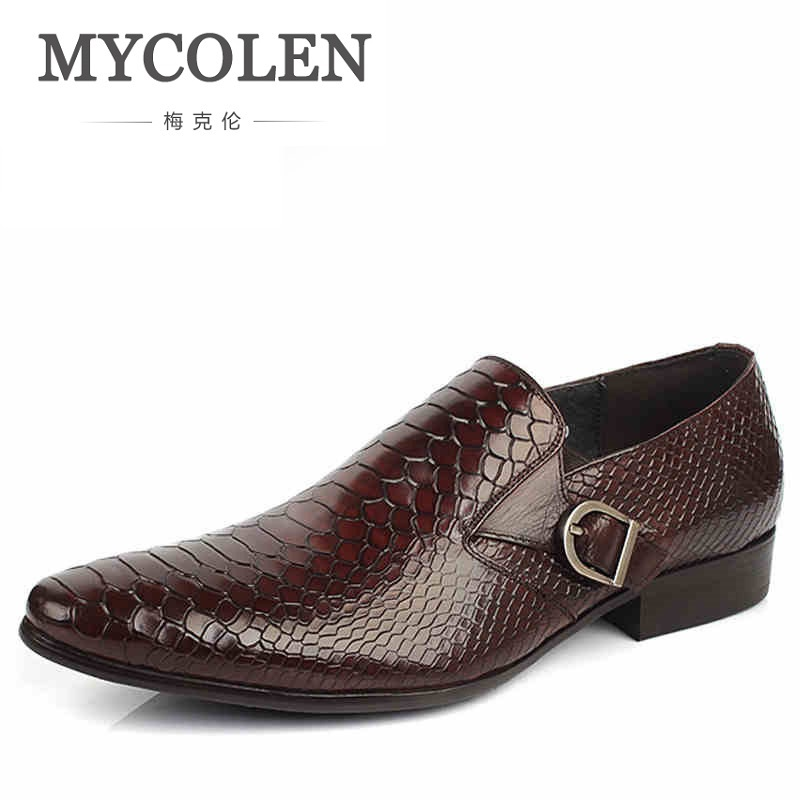 MYCOLEN Hot Sale Fashion Brand Formal Mens Dress Shoes Men Luxury Wedding Male Leather Shoes Office Crocodile Pattern Shoes mycolen 2018 high quality business dress men shoes luxury designer crocodile pattern formal classic office wedding oxfords