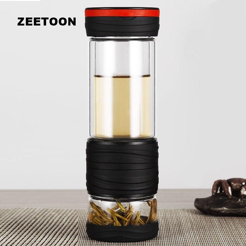 400 ml voyage verre eau tasse Double couche thé séparation bouilloire résistant à la chaleur avec filtre bouteille d'eau hommes Portable voiture thé tasse