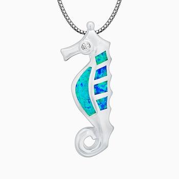 Cute Seahorse Blue Fire Opal Stone Sterling Sliver Pendants Women Jewelry For Women PJ16021410