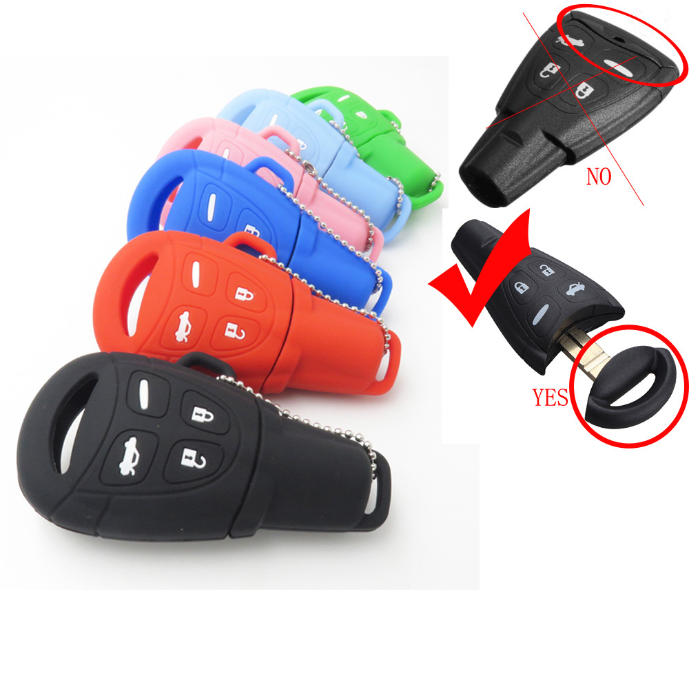 Hot Sale Silicone Rubber Car Key Cover Case Fob Fit For SAAB 9-3 9-5 93 95 Remote Key 4 Buttons Silica Gel Cover