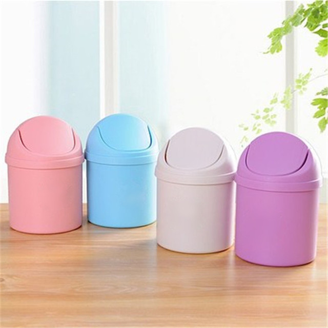 Great Mini Multifunction Desktop Garbage Basket Home Table Trash Can Dustbin  Container