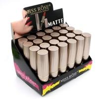 24PCS/LOT Miss Rose Matte Lipstick Waterproof Makeup Lip Matte Lip Stick Cosmetics Sexy Red Lip Tint Nude Lipstick Matte Batom