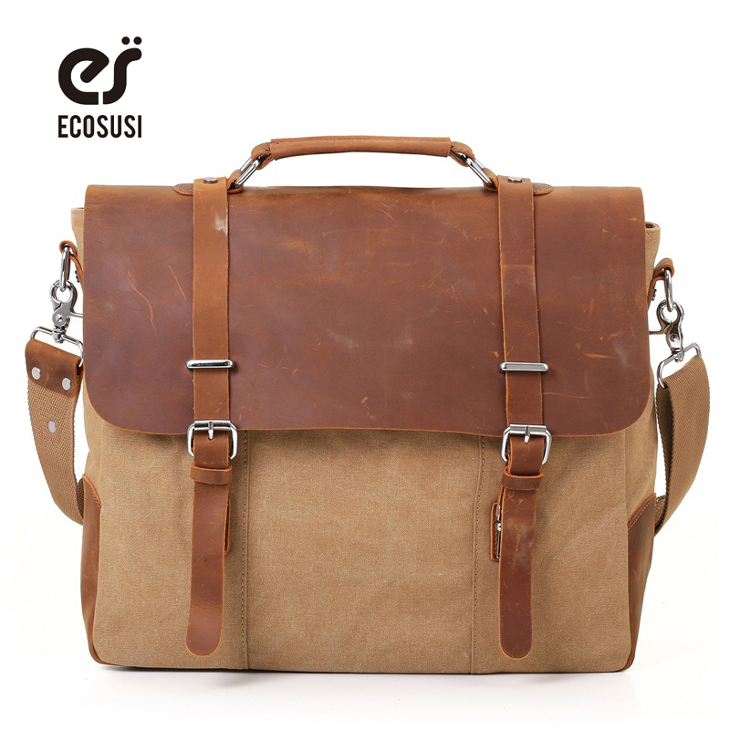 ECOSUSI Men Vintage Canvas Shoulder Bags 15.6 inch Laptop Bag Retro Style Cross Body Messenger Bag Crazy Horse Leather Bags