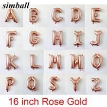 16 pouces or Rose Alphabet lettres ballons en Aluminium bébé douche décorations de fête d'anniversaire feuille ballon fournitures de fête de mariage