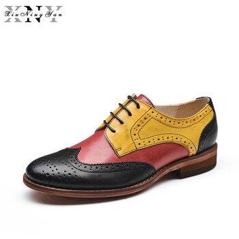 XiuNingYan 2018 Genuine Leather Shoes Women Brogues Sheepskin Oxfords Flat Heels Handmade Vintage Women Casual Shoes for Women
