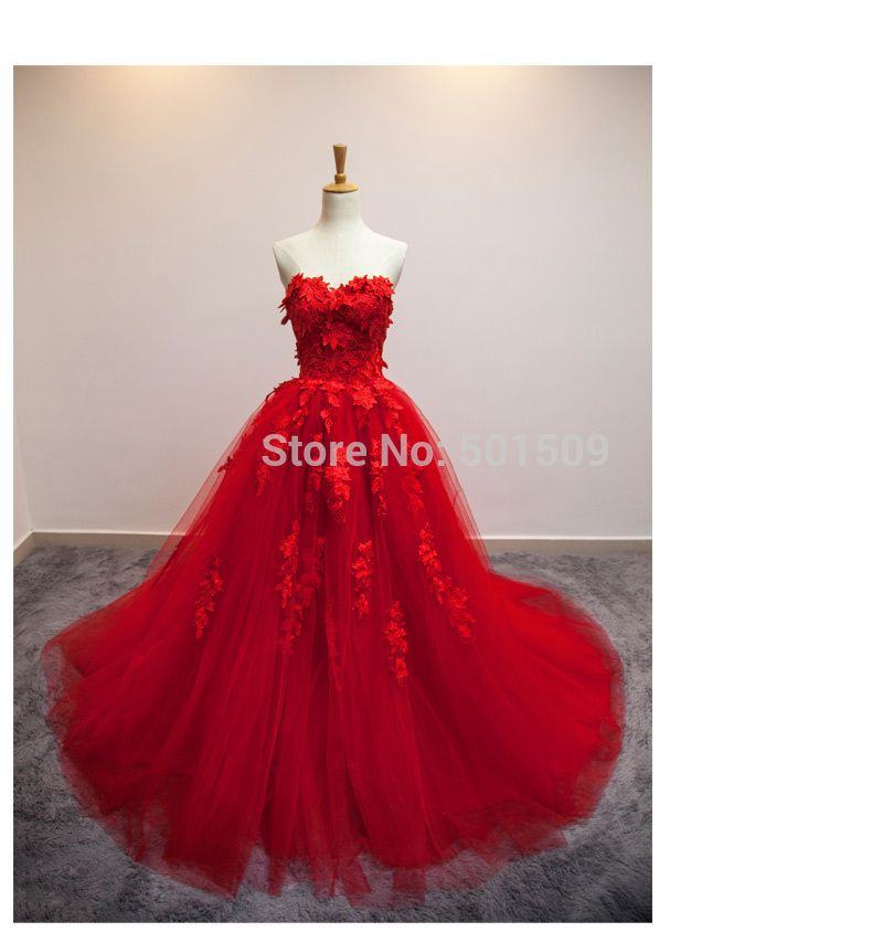 Anime Ball Gown White With Red Roses: 100%real Luxury Red Rose Flowers Embroidery Leaf/ball Gown