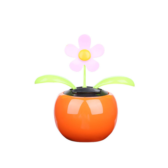 1PC New Moving Dancing Swing Flip flap Solar Toy Power Sunflower Apple Car gadgets Gift Home Toys Decorating Plants 2