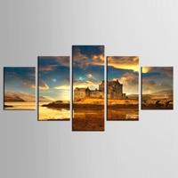 Sông shore castle Art In Ảnh 5 Piece Canvas Vẽ Tranh Tuỳ Canvas In Trên Vải In Tường Hình Ảnh Trang Trí