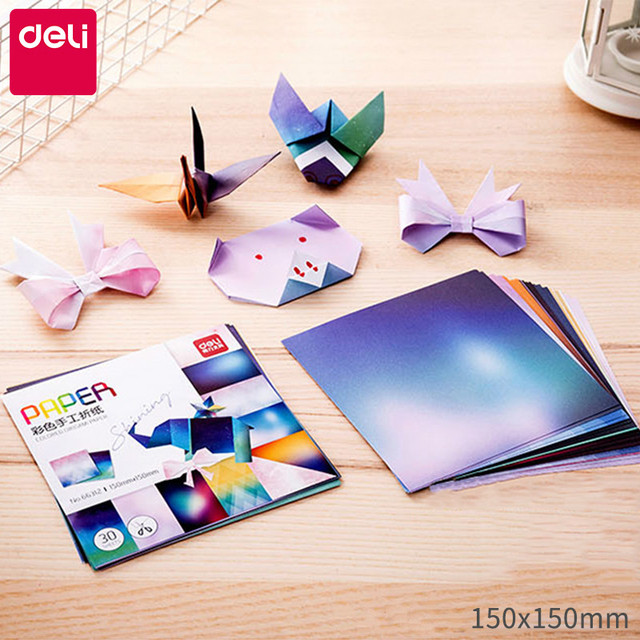 Deli Star Colored Origami Kids 15*15cm Square Origami Paper Kawaii Animals Paper Folding Children DIY Origami and Hand-cut Paper