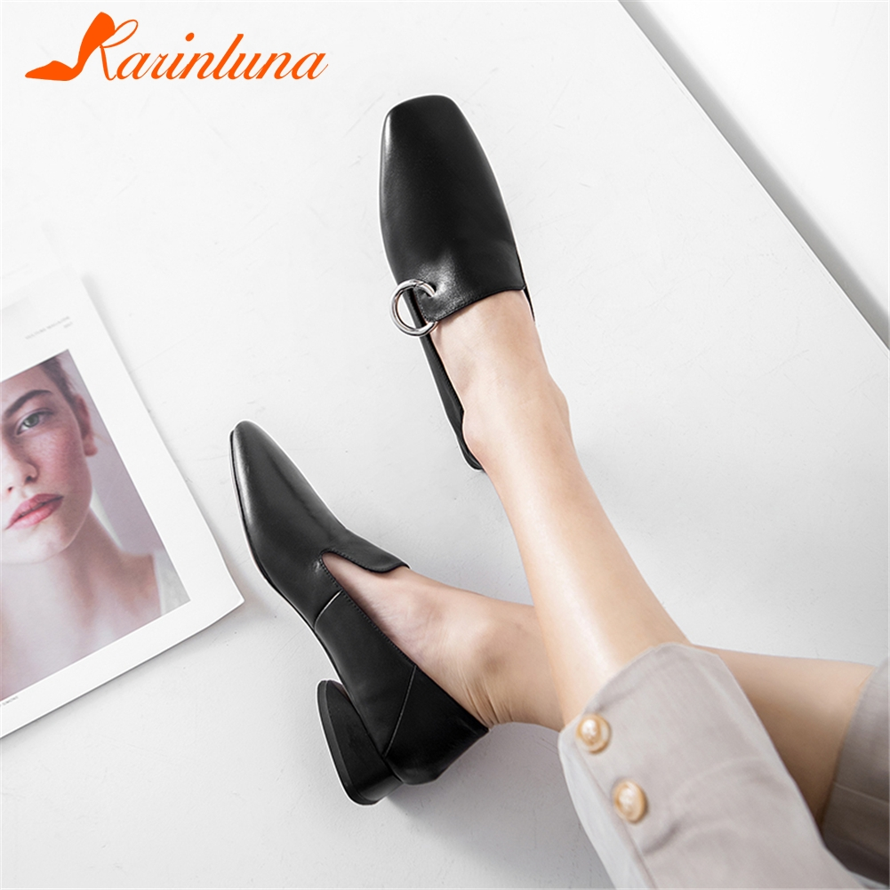 KARINLUNA/Новинка 2019 года, весенние фирменные черные женские туфли-лодочки для офиса, женские туфли из натуральной кожи на низком каблуке, женск...