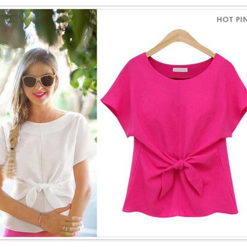 Women Shirt Summer Fashion O-neck Short sleeve chiffon blouse with bow Europe style <font><b>large</b></font> size 2016 <font><b>Chemise</b></font> Femme <font><b>white</b></font> 4 colors