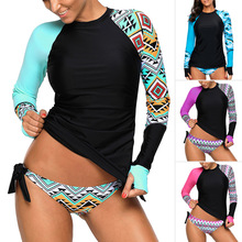 Swimsuit Women Sexy Bikini Long-sleeved With Conservative Printing Round Collar Non-ring Split