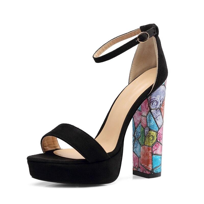 Damen Schuhe Frühling High Kleid Schwarz Sandalen Heels Knöchel Plattform Aiyoway Frauen Hochzeit Sommer Schnalle wqtCgxwvA