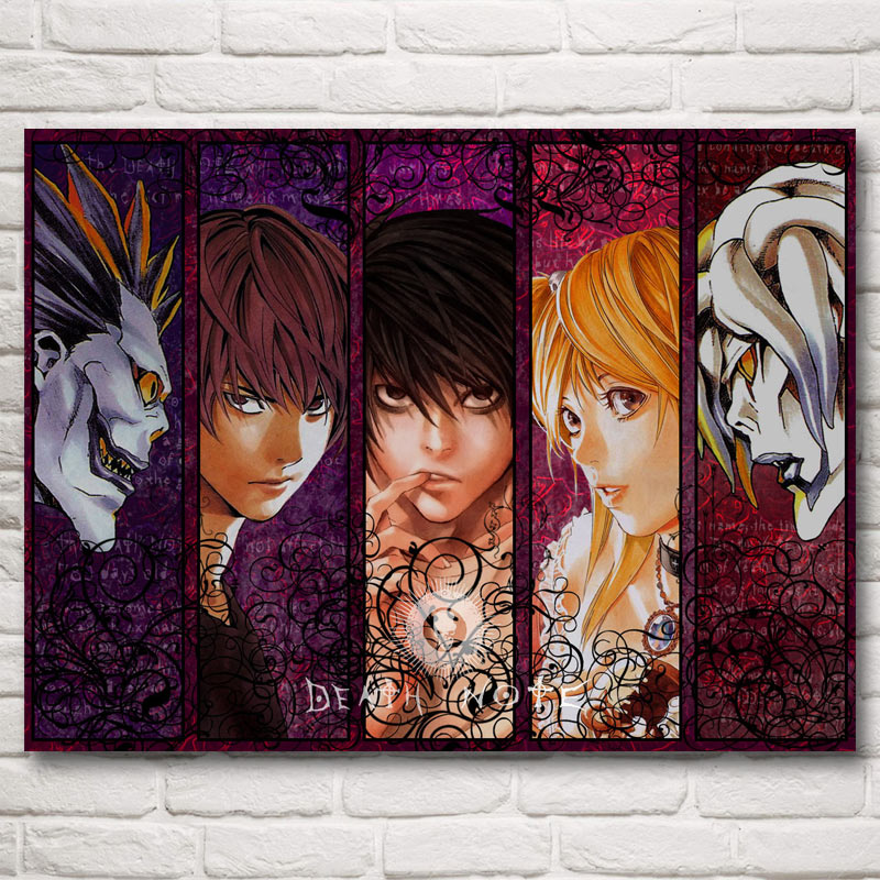 FOOCAME Death Note Jepun Anime Light Ryuk Art Silk Posters Prints Painting Decor Wall Pictures For Living Room 18x24 Inches