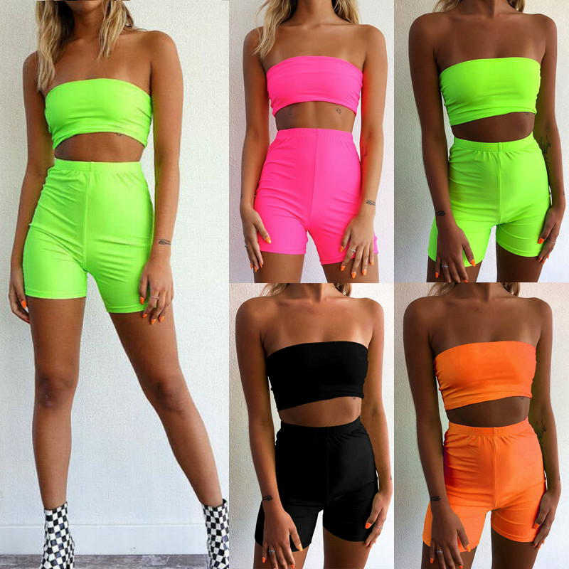 2020 New Summer Women 2 Piece Sets Fitness Sports Tracksuit Strapless Crop Top Bodycon Shorts Club Party Two Piece Set Clothes