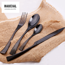 Hot Sale Black Stainless Steel Cutlery 4 Pieces Dinnerware Set Fork Spoon Knife Hand Polish Top Quality Brand Western Flatware