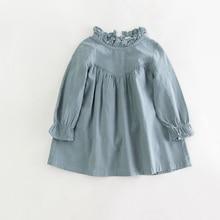 Vestido de manga larga bebé vestido de los niños ropa de algodón de primavera camisa Floja de la vendimia vestidos de calidad de la blusa de los niños ropa de otoño