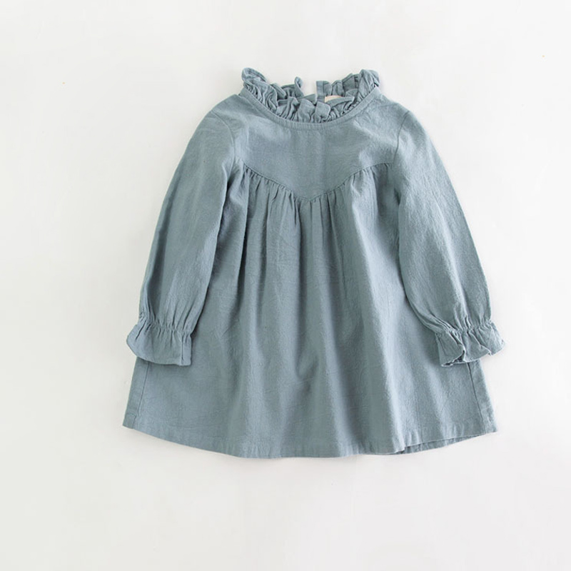 все цены на baby girl long sleeve dress children spring cotton linen dress vintage Loose shirt dresses quality kids blouse autumn clothes