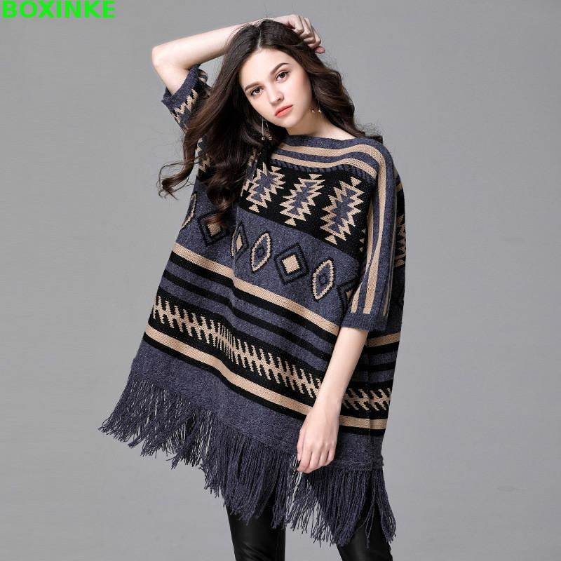 In Europe The Large Color And Tassel Shawl Poncho Bianfushan Women 2018 Long Sleeve Head Loose Picture Thick Sweaters Sweater Tide New Size 7PwqX