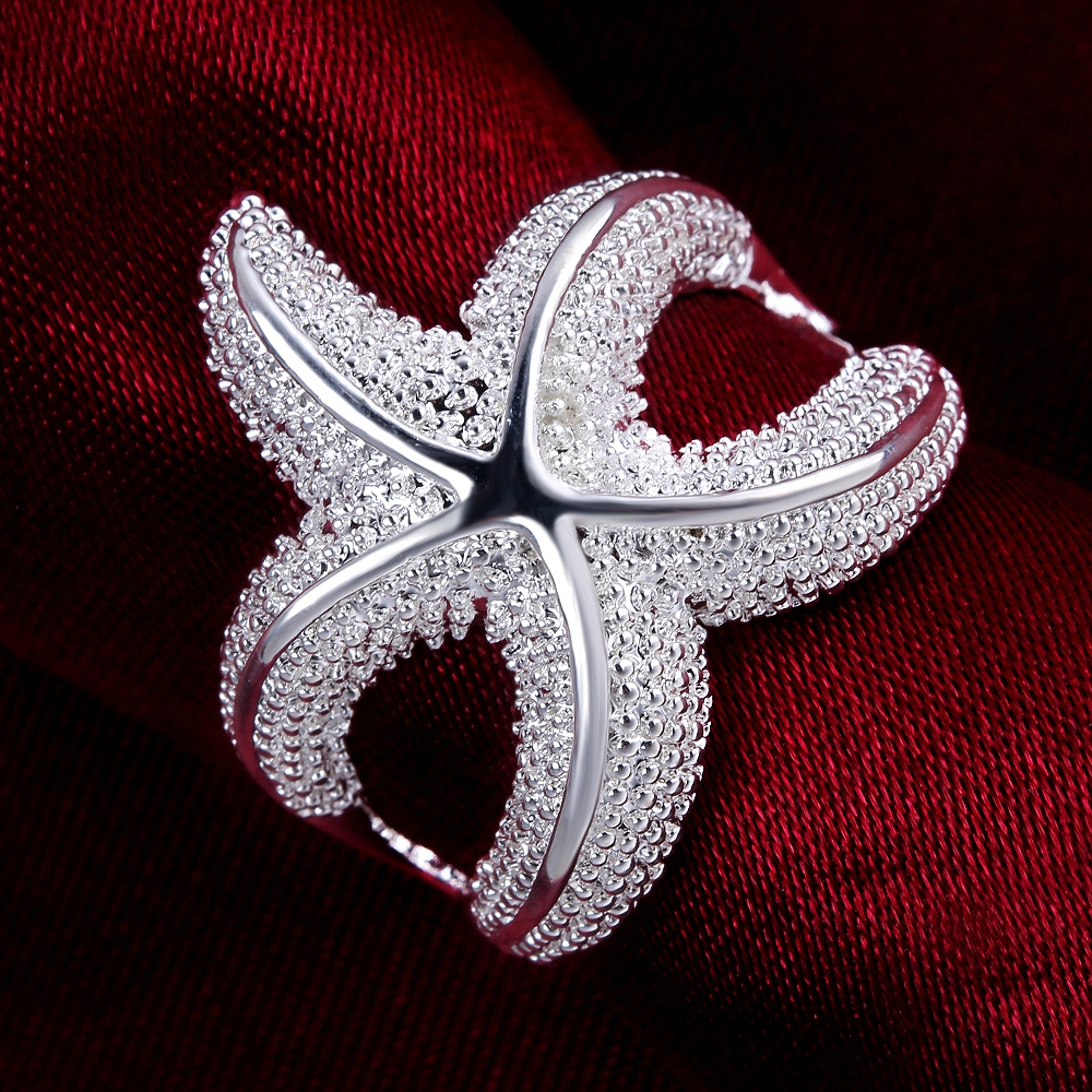 Wholesales 925 pure silver plated rings Fashion Jewelry sea star ...