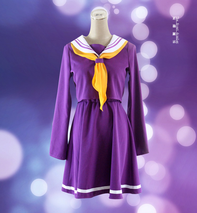 No Game No Life Shiro Emboitement Heroine Purple Sailor Suit Anime Cosplay Costume Free Track Anime