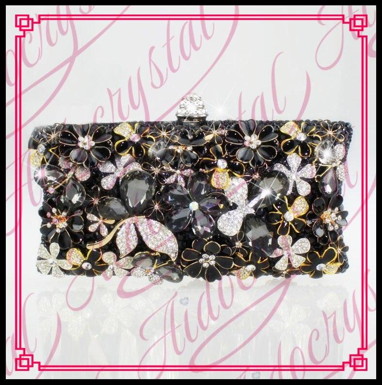 Aidocrystal Christmas Party Diamond Flower Clutch Box Bag Small Handmade Black Gold Evening Bag Purse For