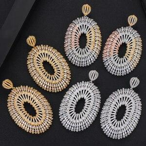 Image 4 - GODKI Роскошные Супер Большие длинные висячие серьги для женщин Свадебные полностью микро CZ кубический циркон Дубай индийские серьги Богемия хит