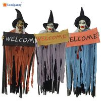 LumiParty Halloween Decoration Haunted House Horror Hanging Ghost Eyes Bright Scary Voice Sound Control Props Halloween