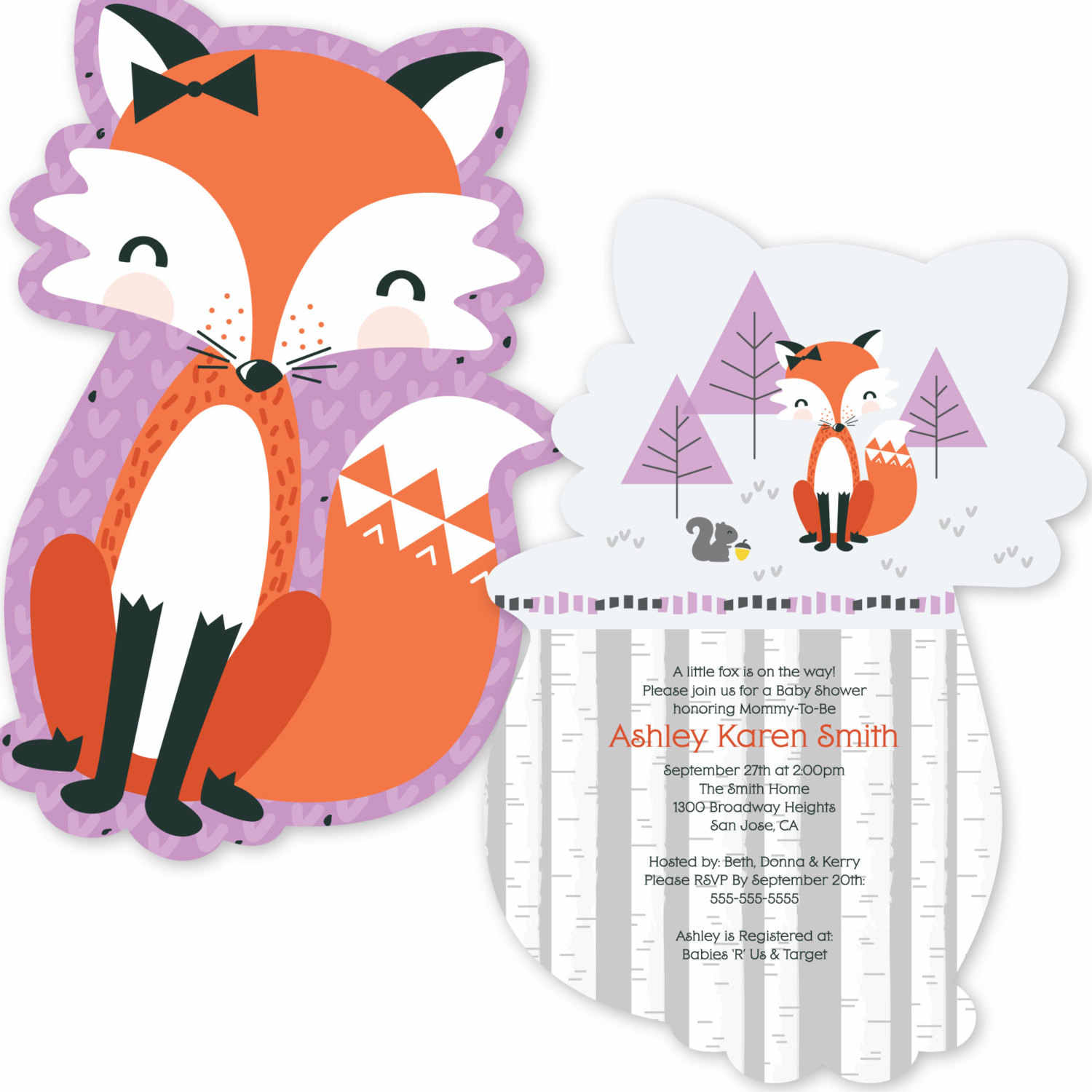 6c4deee288 ... 12PCS Mr/Miss Foxy Fox Party Invitations Personalized Party Decorations  for Baby Showers - Foxy
