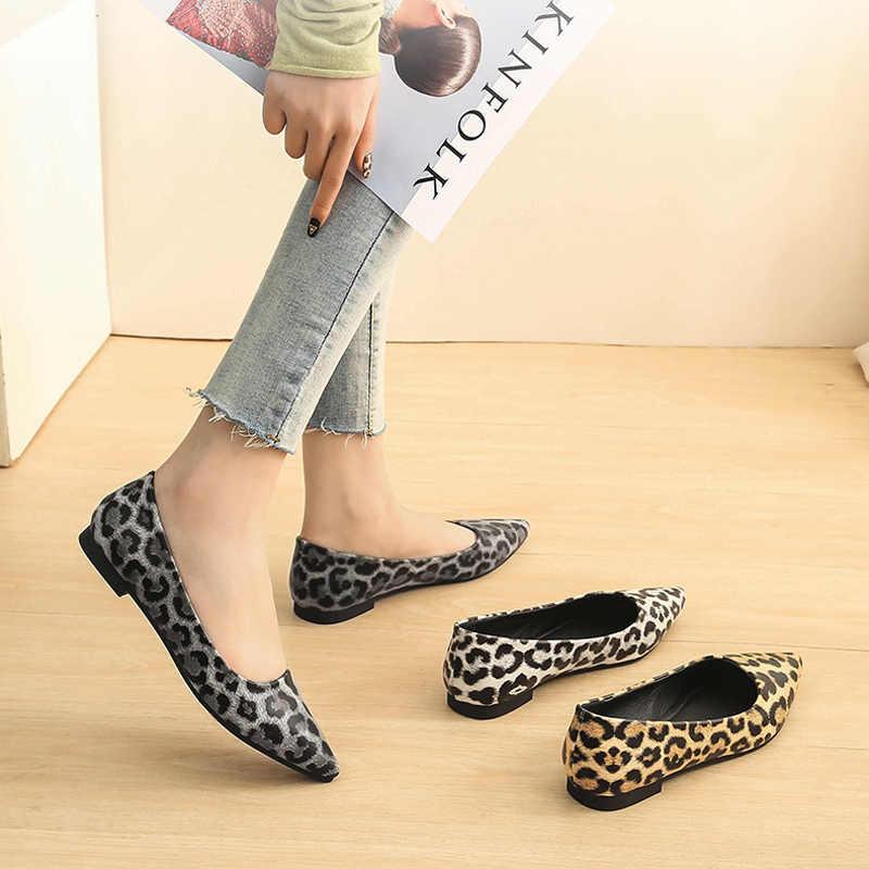 YAERNI Vrouwen Balletflats schoenen ondiepe puntschoen Loafers sexy Luipaard slides Slip op sandalen casual Comfortabele Big size Platte