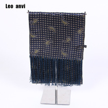 Мужские шелковые шарфы, саржевый мягкий мужской шарф, роскошный галстук, мода Великобритании, темно-синий шарф, Аскот, Пейсли, Ретро стиль, мужской шарф с кисточками