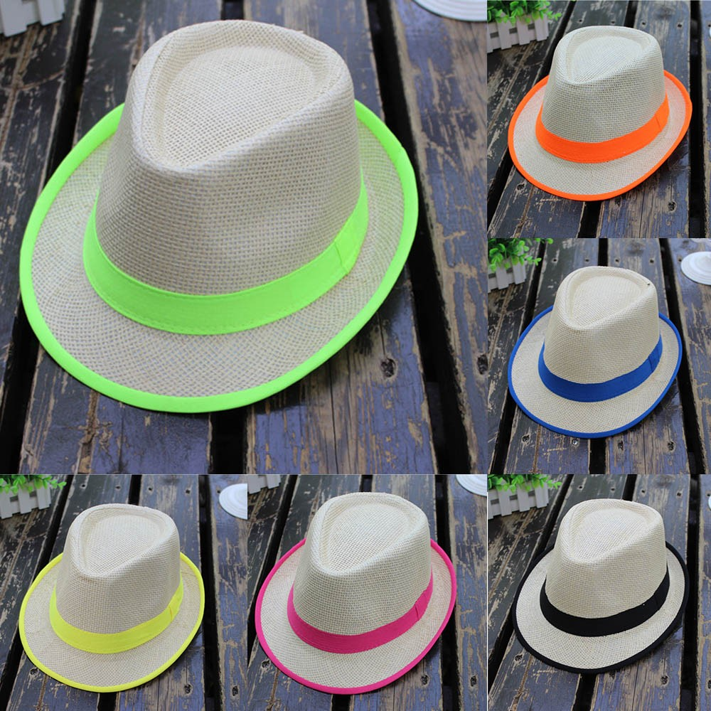 Fashion White Flat Brim Wide Brim Women's Strawhat Women's Jazz Fedoras Hat Sun-shading Hat Beach Cap Summer Boonie Hat Sophisticated Technologies