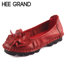 HEE GRAND Genuine Leather Loafers Casual Platform Shoes Woman Slip On Flats Moccasin Comfortanble Creepers Women Shoes XWD3814
