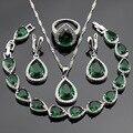 Conjuntos de Jóias Para As Mulheres de Cor prata Criado Verde Esmeralda Anéis de CZ Branco Brincos Pulseira Colar de Pingente de Presente de Natal