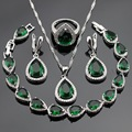 Silver Color Jewelry Sets For Women Green Created Emerald White CZ Bracelet Earrings Necklace Pendant Rings Christmas Gift