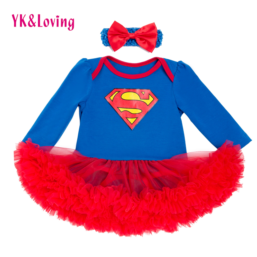 Full Sleeve Baby Girl Dress Superman Infant Girls Vestido Red Lace Ruffle Tutu Dress with Headband Lovely Newborn Bodysuit