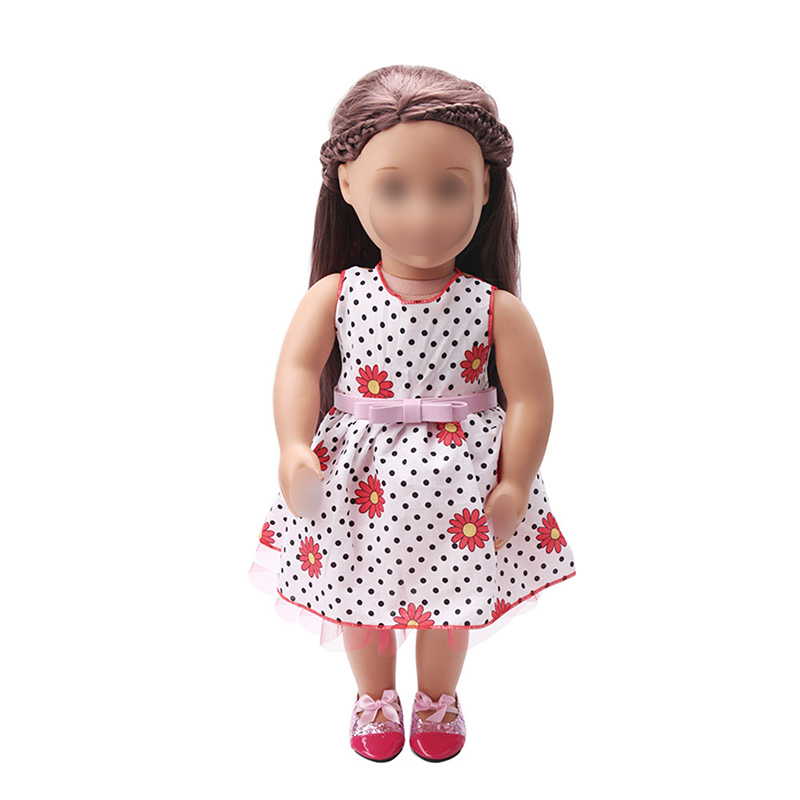 18 inch Girls doll dress Summer print dress American new born clothes Baby toys fit 43 cm baby accessories c7 in Dolls Accessories from Toys Hobbies