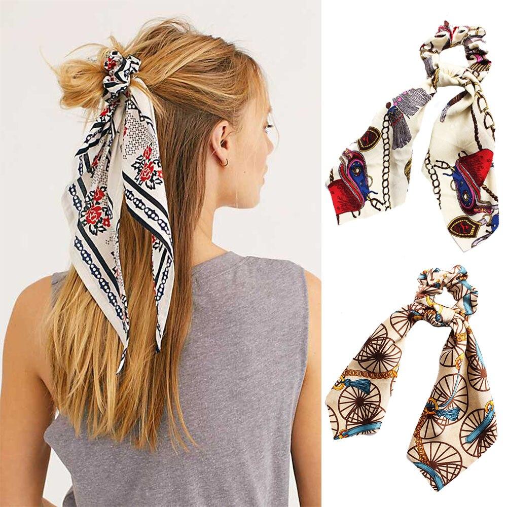 2019 de las mujeres de la moda arco Scrunchie bufanda de pelo de cola de caballo titular cuerda de pelo corbata elástico bandas para el cabello niñas serpentinas accesorios para el cabello
